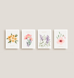watercolor flower art gift poster collection vector image
