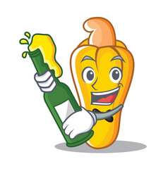 With beer cashew mascot cartoon style vector