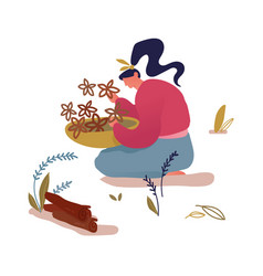 woman sitting on ground with bowl in hands vector image