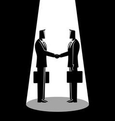 wwo businessmen shaking hands vector image
