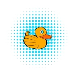 Yellow rubber duck icon comics style vector