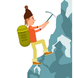 Young male tourist with backpack climbing vector