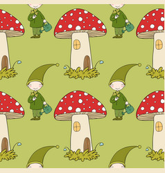 pattern with cute elves and a mushroom house vector image vector image