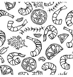 seafood seamless pattern shrimp or prawn herbs vector image vector image