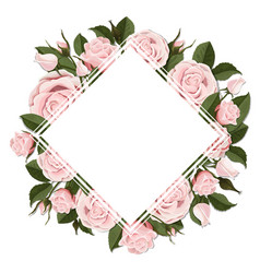 square greeting card on pink rose flowers vector image vector image