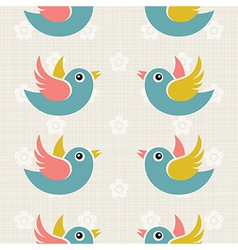 Fabric Background with cute birds vector image