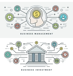 Flat line Investment and Business Management vector image