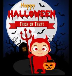 halloween background with kids devil costume vector image vector image