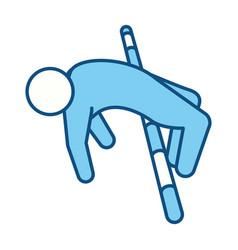 Blue line pictogram man practice pole vault sport vector