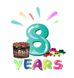 happy birthday eight 8 year fun design with vector image vector image
