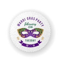 mardi gras party emblem with carnival mask vector image