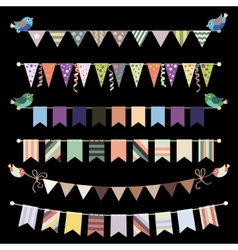 Retro bunting and garland set Template for design vector image