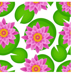 seamless pattern with pink lotus vector image