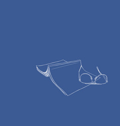 set of book and glasses hand draw vector image vector image