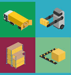 warehouse logistics isometric icon set vector image