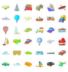 city vehicle icons set cartoon style vector image