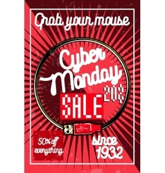 Color vintage cyber monday poster vector
