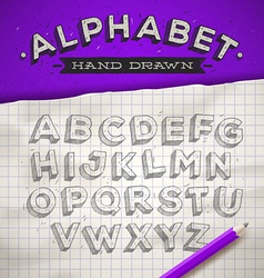Hand drawn sketch font on a school notebook paper vector image