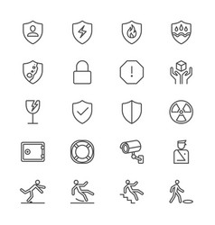 safety thin icons vector image vector image