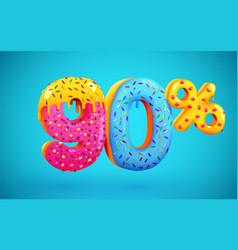 90 percent off discount dessert composition 3d vector