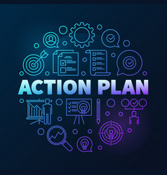 Action plan round colored outline vector
