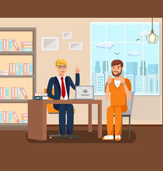 Advocate works in office flat vector