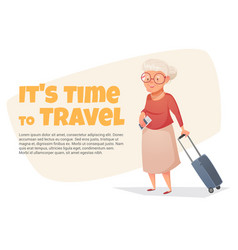 an old woman with a suitcase in her hand vector image