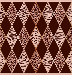 Animal pink and maroon geometric seamless pattern vector