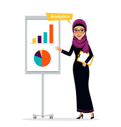 arab woman shows profit growth concept analytics vector image