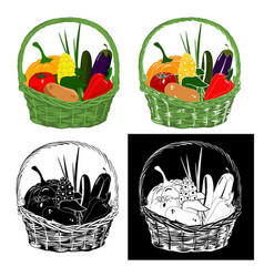 basket with vegetables vector image