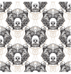 Bear faces seamless pattern for the design of the vector