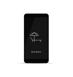 best beach icon on cellphone vector image