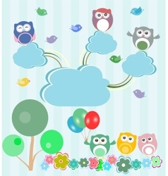 Birds and owls in spring forest set vector