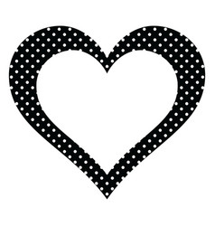Black polka dots heart vector