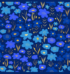 blue and gold flower meadow seamless vector image