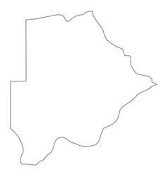 botswana - solid black outline border map of vector image