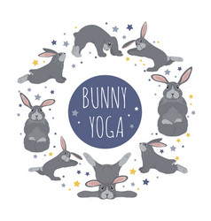Bunny yoga poses and exercises cute cartoon vector
