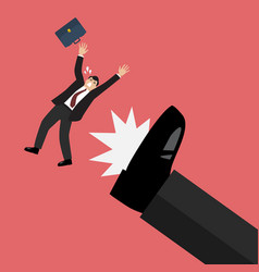 businessman kicked by his boss big foot vector image