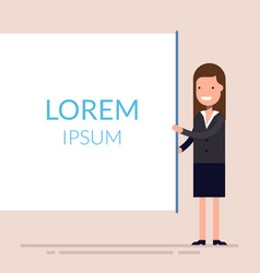 businesswomen present with board cute woman vector image