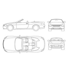 Cabriolet car in outline cabrio coupe vehicle vector