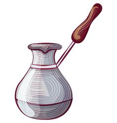 Caffeine drink metal pot mug with handle vector