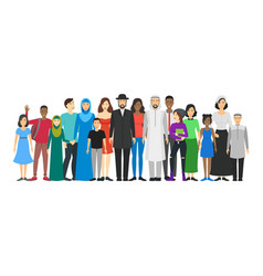 cartoon characters people national family crowd vector image