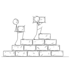 Cartoon of two businessmen building staircase vector
