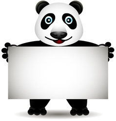 cartoon panda with blank sign vector image vector image