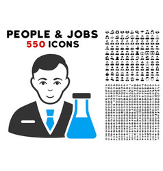 Chemistry man icon with bonus vector