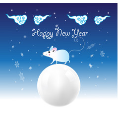 christmas card with white mouse vector image