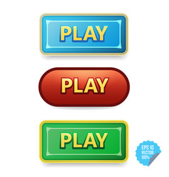 Colorful buttons with play tittle bright vector