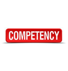 Competency red three-dimensional square button vector