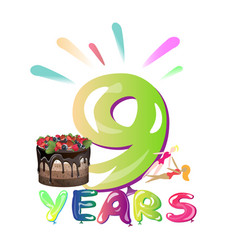 congratulation with 9 year with balloons vector image