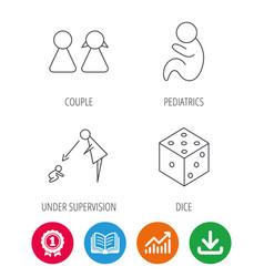 Couple paediatrics and dice icons vector